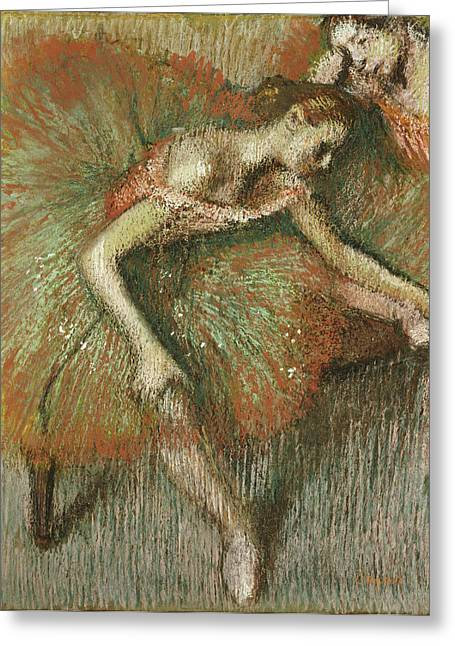 Stretched Greeting Cards - Dancers Greeting Card by Edgar Degas