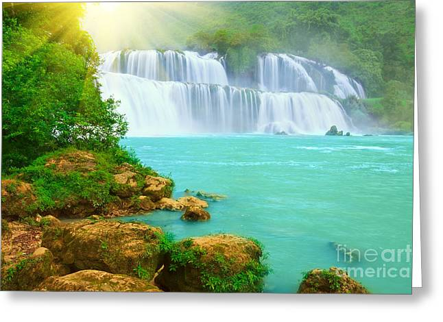 Detian Greeting Cards - Detian waterfall Greeting Card by MotHaiBaPhoto Prints