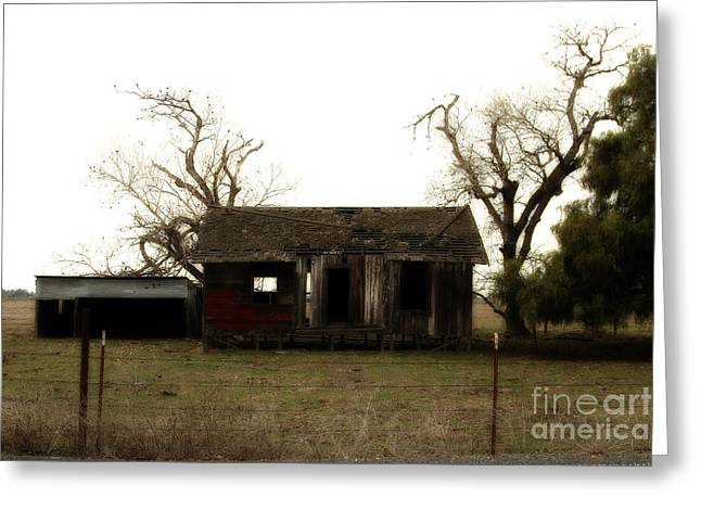 Dilapidated Houses Greeting Cards - Dilapidated Old Farm House . 7D10341 Greeting Card by Wingsdomain Art and Photography