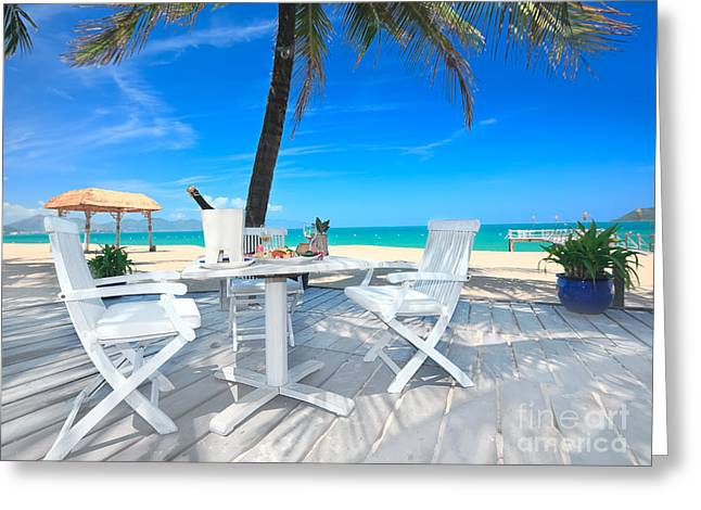 Table Greeting Cards - Dinner on the beach Greeting Card by MotHaiBaPhoto Prints