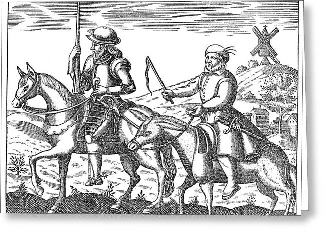 Quixote Greeting Cards - Don Quixote & Sancho Panza Greeting Card by Granger