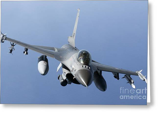 Civil Aviation Greeting Cards - Dutch F-16am During A Combat Air Patrol Greeting Card by Gert Kromhout
