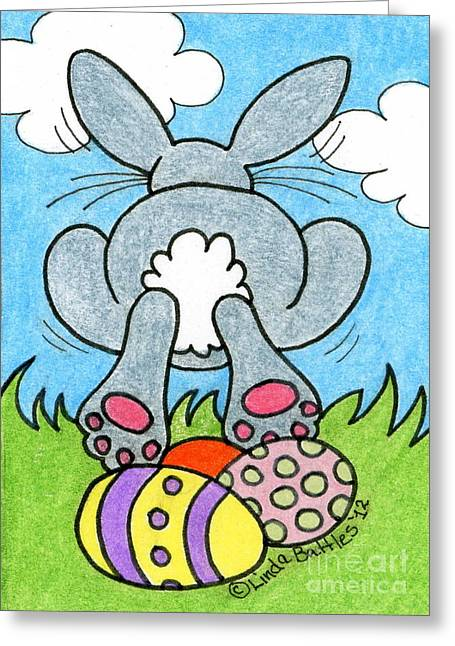 Easter Bunny Retreat Greeting Card by Linda Battles