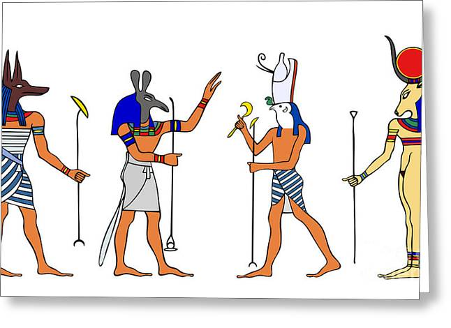 Hathor Greeting Cards - Egyptian Gods and Goddess Greeting Card by Michal Boubin