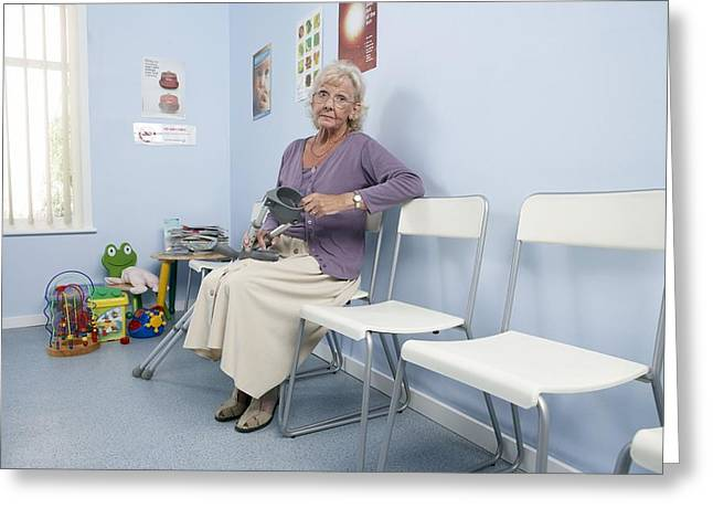 Crutches Greeting Cards - Elderly Patient Greeting Card by Adam Gault