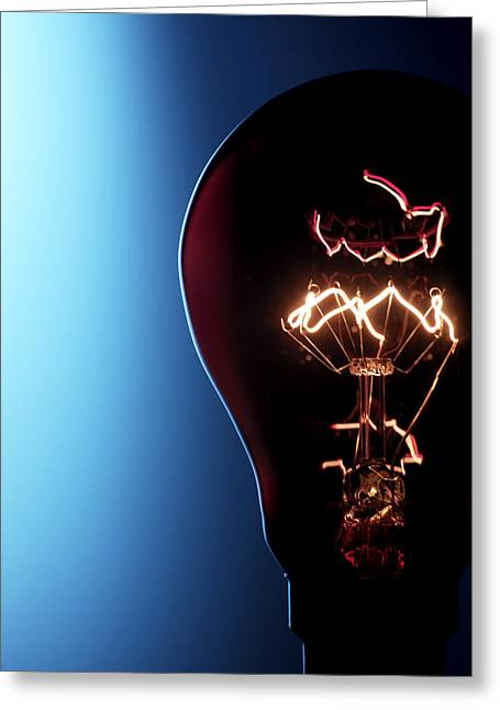Electric Current Greeting Cards - Electric Lightbulb Greeting Card by Tek Image