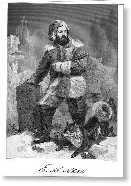 Arctic Dog Greeting Cards - Elisha Kent Kane (1820-1857) Greeting Card by Granger