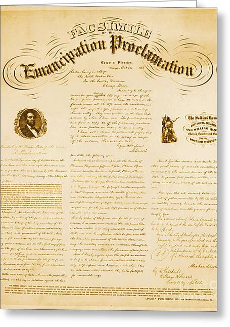 Emancipation Proclamation Greeting Cards - Emancipation Proclamation Greeting Card by Photo Researchers