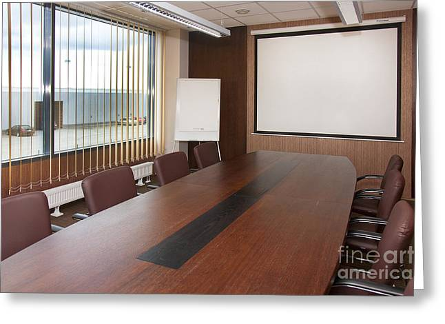 Office Chair Greeting Cards - Empty Conference Room Greeting Card by Jaak Nilson