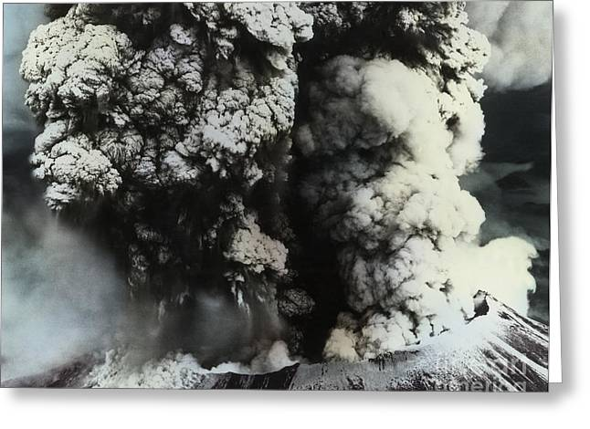 Color Enhanced Greeting Cards - Eruption Of Mount St. Helens Greeting Card by Science Source