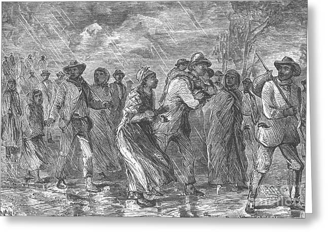 Antislavery Photographs Greeting Cards - Escaping To Underground Railroad Greeting Card by Photo Researchers