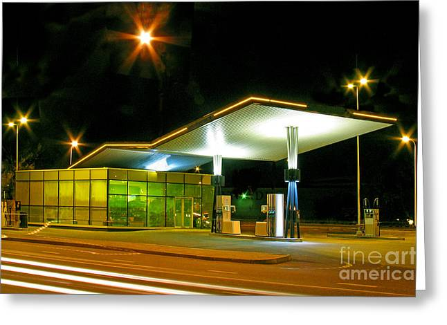 Tallinn Greeting Cards - Estonian Gas Station at Night Greeting Card by Jaak Nilson