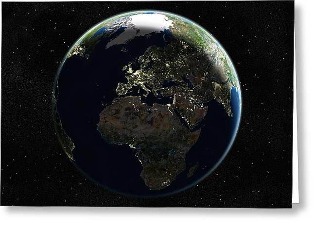 Inhabited Environment Greeting Cards - Europe At Night, Satellite Image Greeting Card by Planetobserver