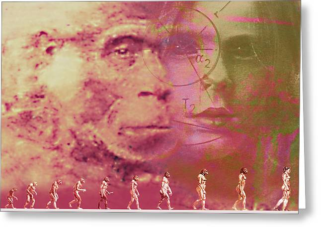Ape Photographs Greeting Cards - Evolution Greeting Card by Hans-ulrich Osterwalder