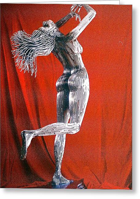 Fantasy Art Sculptures Greeting Cards - Evolution of Eve figure 2 Greeting Card by Greg Coffelt