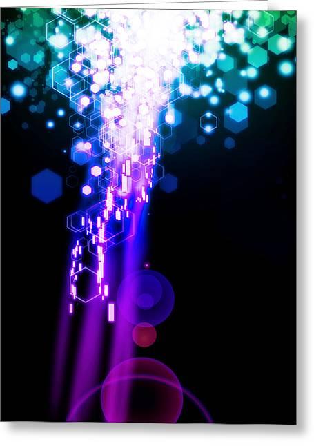 Abstract Waves Greeting Cards - Explosion Of Lights Greeting Card by Setsiri Silapasuwanchai