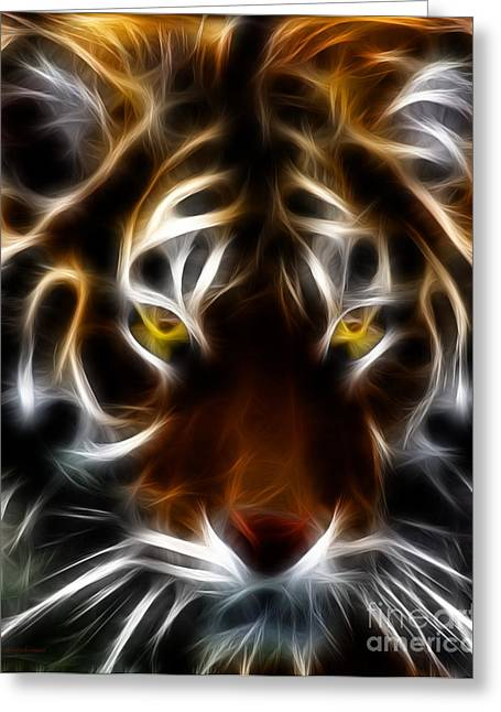 The Tiger Greeting Cards - Eye of The Tiger Greeting Card by Wingsdomain Art and Photography