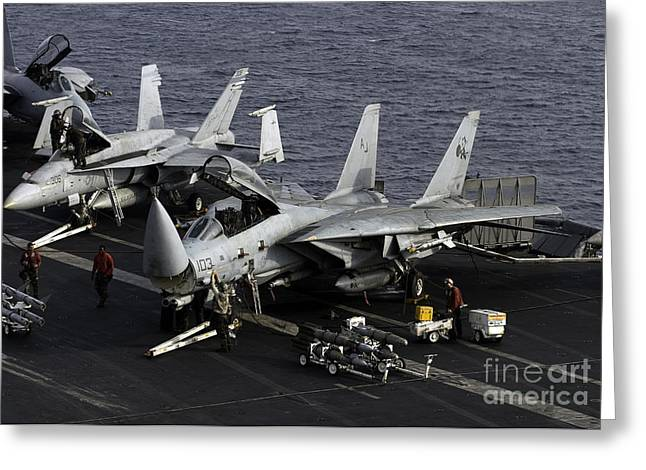 Us Open Photographs Greeting Cards - F-14d Tomcats On The Flight Deck Of Uss Greeting Card by Gert Kromhout