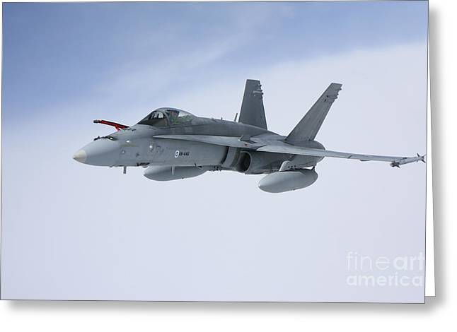 Space-plane Greeting Cards - Fa-18 Hornet Of The Finnish Air Force Greeting Card by Daniel Karlsson