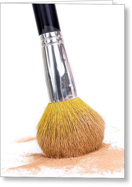 Face Powder And Make-up Brush Greeting Card by Bernard Jaubert