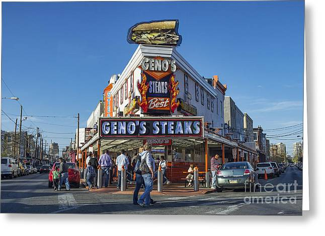 South Philly Greeting Cards - Famous Genos Steaks Greeting Card by John Greim