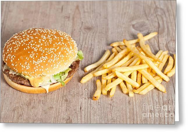 American Food Greeting Cards - Fat hamburger sandwich Greeting Card by Sabino Parente