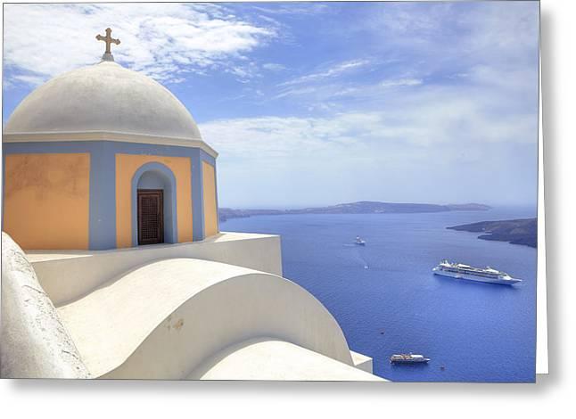 Cruise Ship Greeting Cards - Fira - Santorini Greeting Card by Joana Kruse