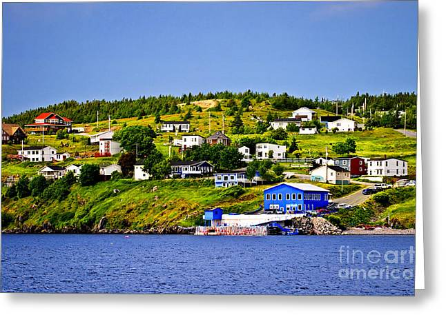 Port Town Greeting Cards - Fishing village in Newfoundland Greeting Card by Elena Elisseeva