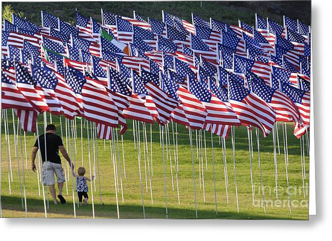 Father And Daughter Greeting Cards - Flags Greeting Card by Marc Bittan