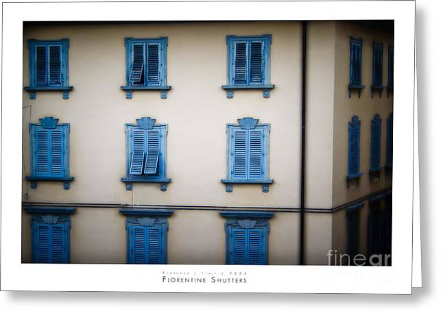 Firenza Greeting Cards - Florentine Shutters Greeting Card by Doug Sturgess