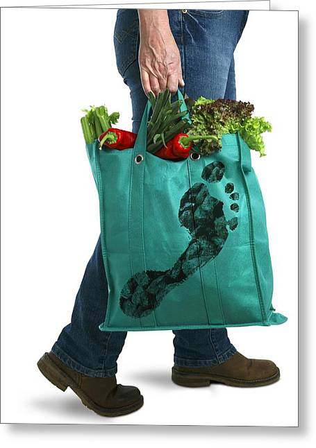 Shopping Bag Greeting Cards - Food Miles, Conceptual Image Greeting Card by Victor De Schwanberg