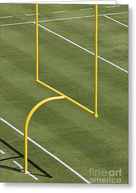 Goal Post Greeting Cards - Football Goal Post Greeting Card by Jeremy Woodhouse