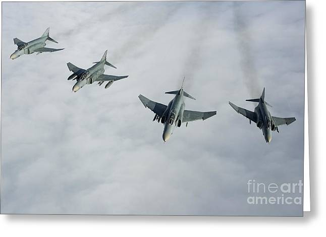 Cooperation Greeting Cards - Formation Of Luftwaffe F-4f Phantom Iis Greeting Card by Gert Kromhout