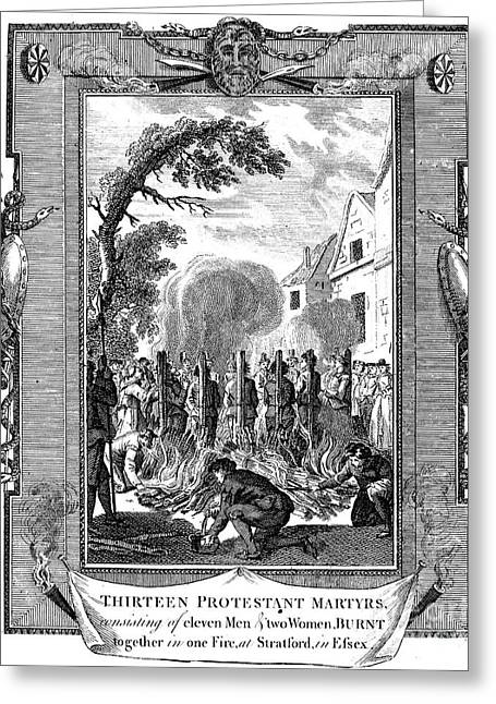 Anti Protestant Greeting Cards - Foxe: Book Of Martyrs Greeting Card by Granger