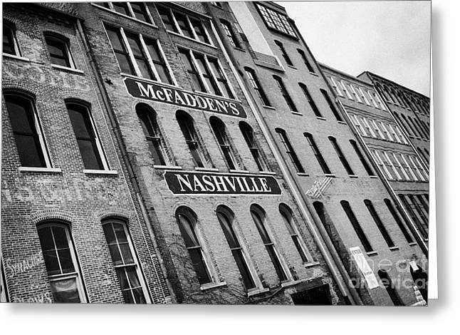 Mcfaddens Greeting Cards - front street warehouse buildings on first avenue Nashville Tennessee USA Greeting Card by Joe Fox