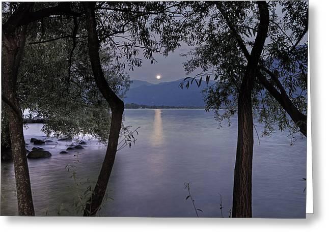 Lake Maggiore Greeting Cards - Full Moon Greeting Card by Joana Kruse
