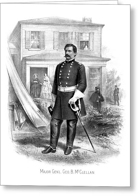 American Civil War Drawings Greeting Cards - General George McClellan Greeting Card by War Is Hell Store