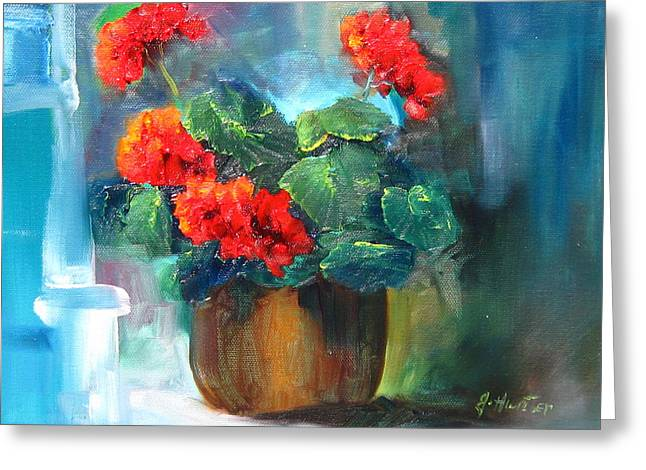Red Geraniums Mixed Media Greeting Cards - Geranium Dreams Greeting Card by Jeff Hunter