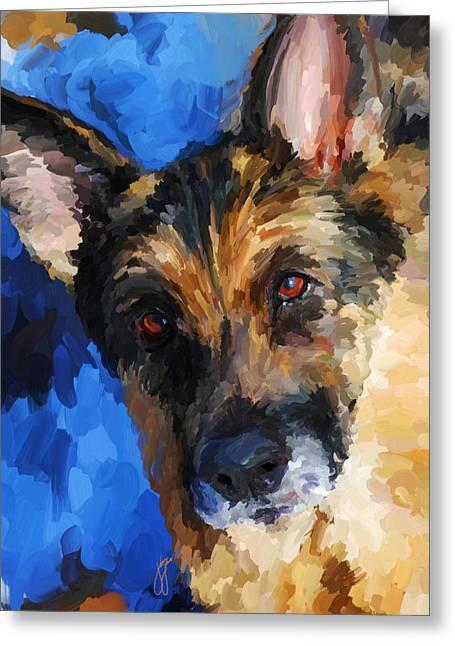 Guard Dog Greeting Cards - German Shepherd Greeting Card by Jai Johnson