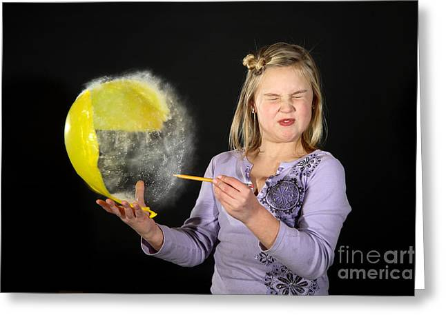 Human Being Photographs Greeting Cards - Girl Popping A Balloon Greeting Card by Ted Kinsman