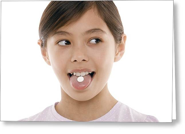Sticking Out Tongue Greeting Cards - Girl Taking Painkiller Greeting Card by