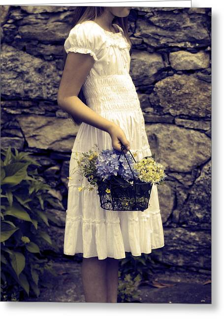 Picking Greeting Cards - Girl With Flowers Greeting Card by Joana Kruse