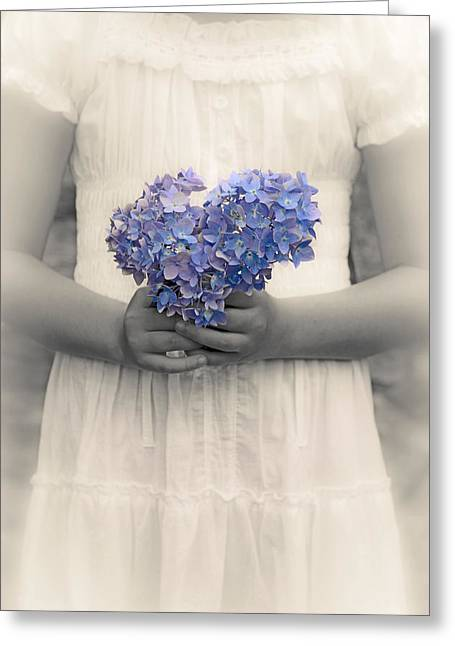 Picking Greeting Cards - Girl With Hydrangea Greeting Card by Joana Kruse