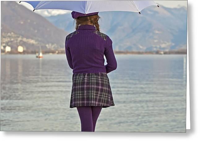 Girl with umbrella Greeting Card by Joana Kruse