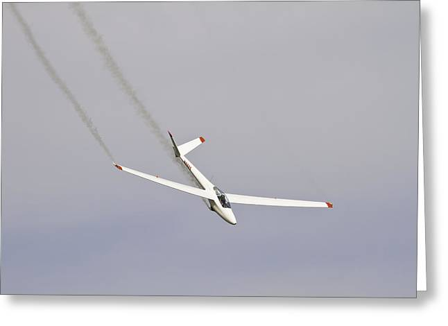 Aero Greeting Cards - Glider Flying Aerobatics At Airshow Canvas Photo Poster Print Greeting Card by Keith Webber Jr