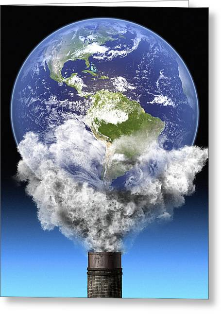 Industrial Concept Greeting Cards - Global Warming, Conceptual Image Greeting Card by Roger Harris