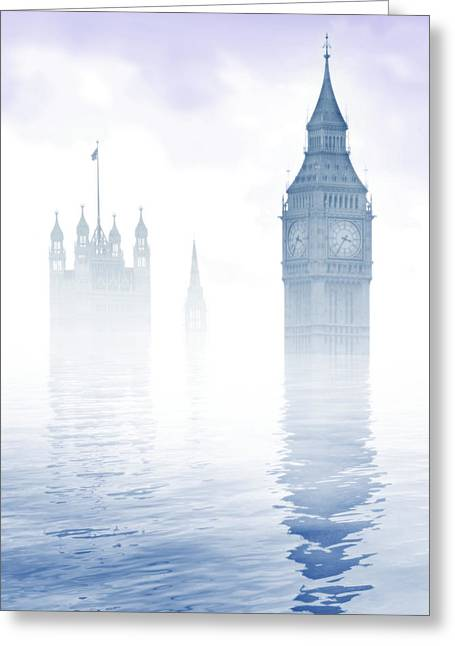 Flooding Greeting Cards - Global Warming Greeting Card by Tim Vernon, Lth Nhs Trust