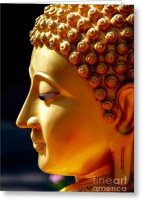 Ears Digital Art Greeting Cards - Golden Buddha Greeting Card by Adrian Evans