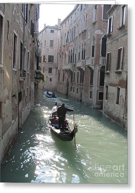 Gondolier Greeting Cards - Gondola. Venice Greeting Card by Bernard Jaubert