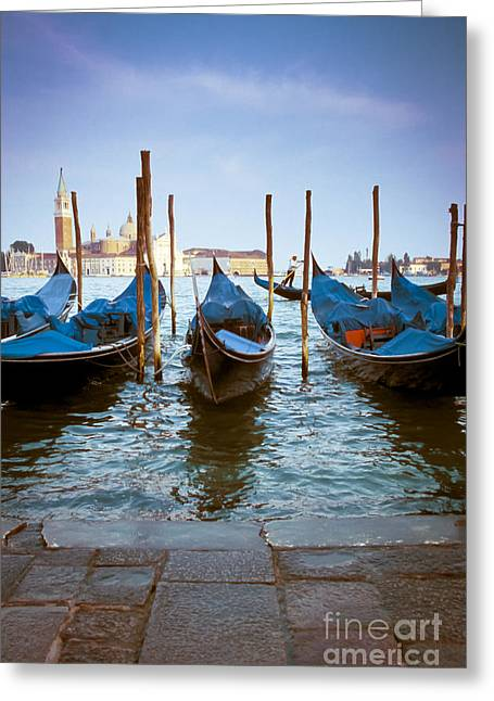 Gondolier Greeting Cards - Gondolas at Piazza San Marco Venice Greeting Card by Gordon Wood